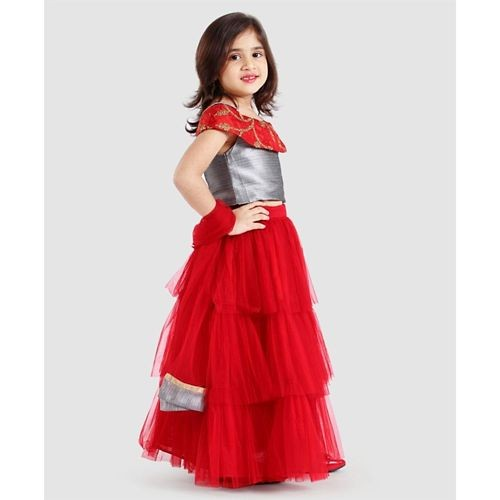 Saka Designs Red Off Shoulder Lehenga Choli With Dupatta Set