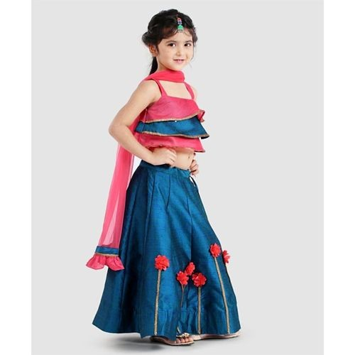 Saka Designs Blue & Pink Sleeveless Layered Choli With Lehenga & Dupatta Flower Motif