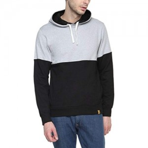 Campus Sutra Black cotton Full Sleeve Hoodie