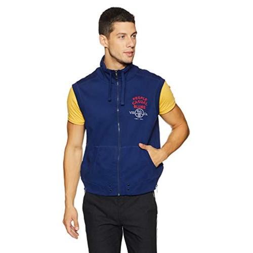 People Navy Blue Cotton  Sleeveless Sweatshirt