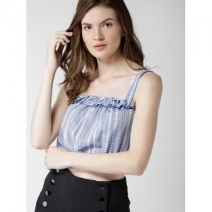 FOREVER 21 Women Blue Cotton Self Design Top