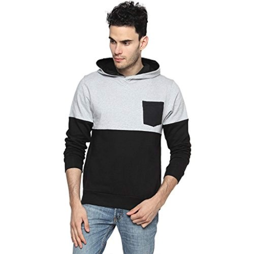 Campus Sutra Black cotton Full Sleeve Contrast Panel Hoodie with Pocket