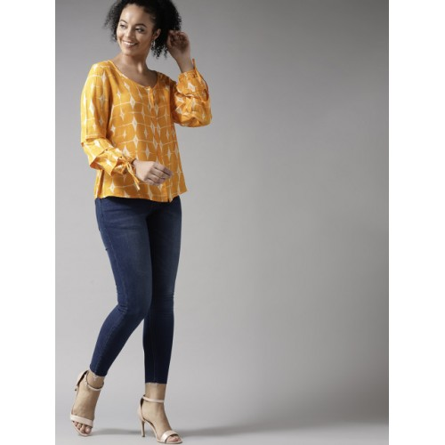 HERE&NOW Yellow & Off-White Printed Shirt Style Top