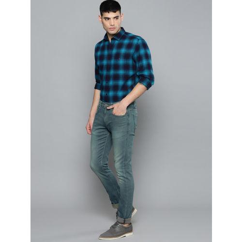 Louis Philippe Jeans Men Blue Albert Super Slim Fit Low-Rise Mildly Distressed Jeans