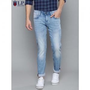 Louis Philippe Jeans Men Blue Matt Slim Fit Low-Rise Clean Look Stretchable Jeans