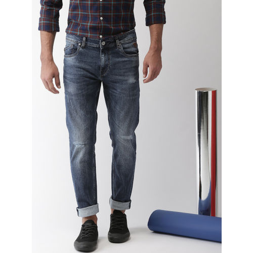 Harvard Men Blue Slim Tapered Fit Mid-Rise Low Distressed Stretchable Jeans