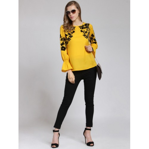 plusS Women Yellow & Black Printed Top