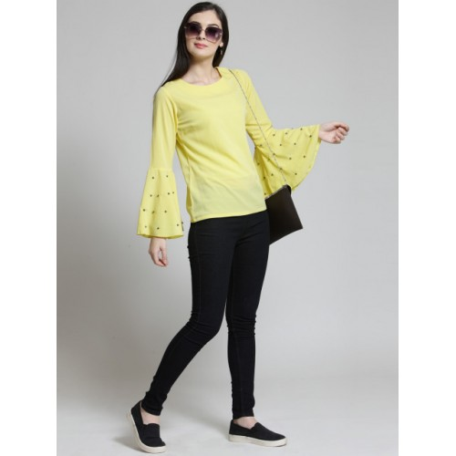 plusS Women Yellow Polyester Solid Top