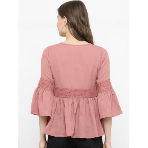 plusS Women Pink Solid Peplum Top