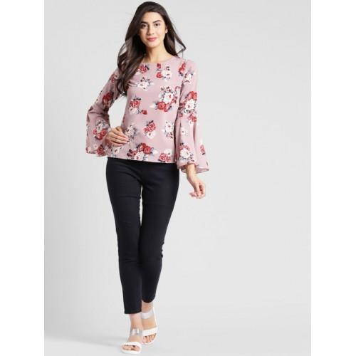 plusS Women Pink Floral Print Top
