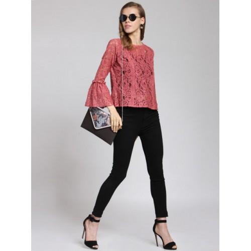 plusS Women Pink Self Design Sheer Top