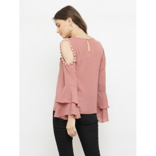 plusS Women Pink Polyester Embellished Top