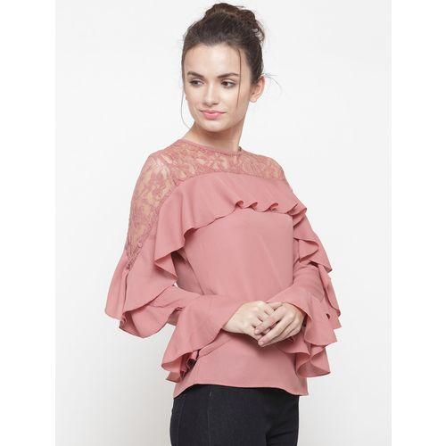 plusS Women Pink Top with Ruffles