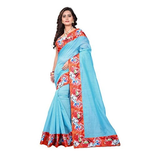 Aaradhya Fashion Blue Cotton Printed Casual Saree With Blouse Piece