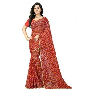 Aaradhya Fashion Red Georgette Bandhani Printed Saree with Blouse Piece