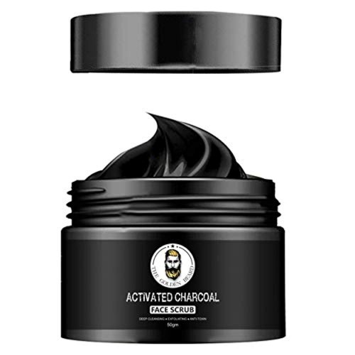 THE GOLDEN BEARD Activated Charcoal Face Scrub for Dead Skin Cells and Blackheads, Oily and Dry Skin, Deep Cleansing & Exfoliating (50gm)