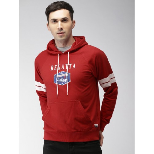 Harvard Red Cotton Printed Hooded Sweatshirt