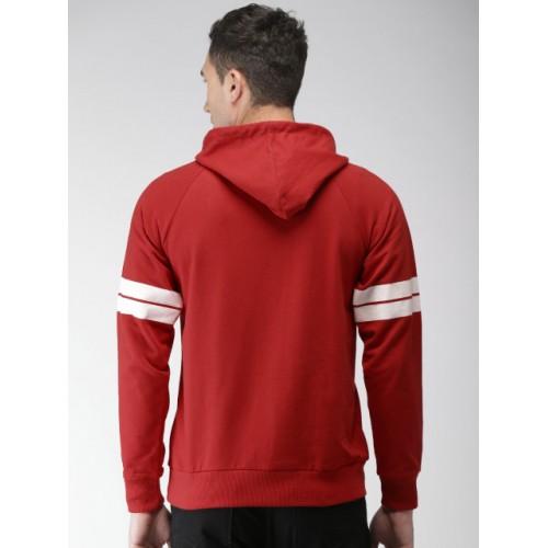 Harvard Red Cotton Printed Hooded Sweatshirt