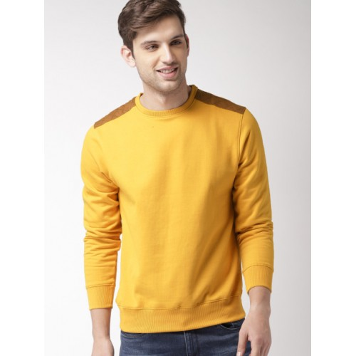 Mast & Harbour Mustard Yellow Cotton Solid Sweatshirt