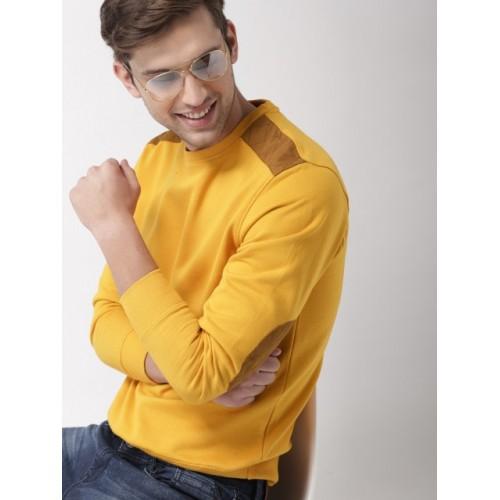 Mast & Harbour Mustard Yellow Cotton Solid Sweatshirt