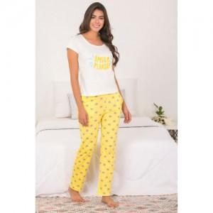 Zivame Top N Pyjama Set - Yellow N Print