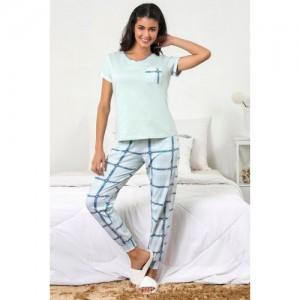 Zivame Chic Checks Top N Pyjama Set - Blue N Print