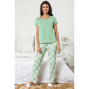 Zivame Chic Checks Top N Pyjama Set-Green N Print