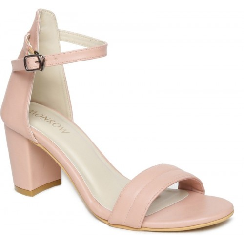 Monrow Pink Solid Party Wear Sandals