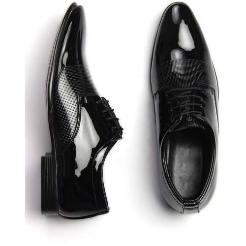 Digitrendzz Black Patent Leather Lace Up Formal Shoes