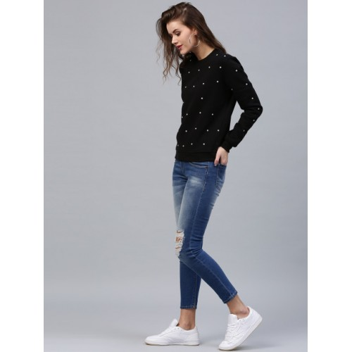 Sassafras Full Sleeve Embellished Women Sweatshirt
