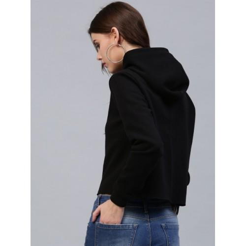 SASSAFRAS Black Printed Detail Hooded Crop Sweatshirt