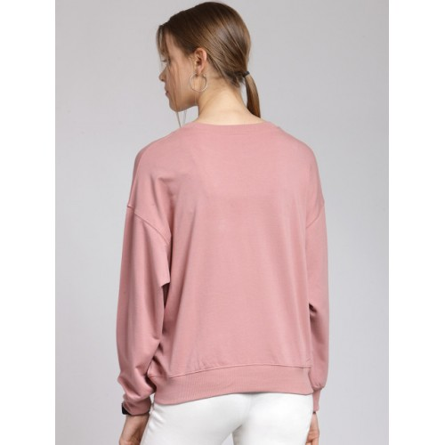 plusS Women Pink Embroidered Sweatshirt