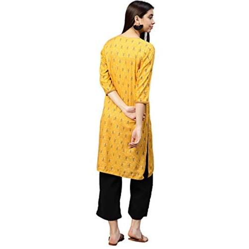 Jaipur Kurti Yellow Rayon Regular Fit A-Line Kurta