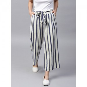 STREET 9 White & Blue Cotton Loose Fit Striped Culottes