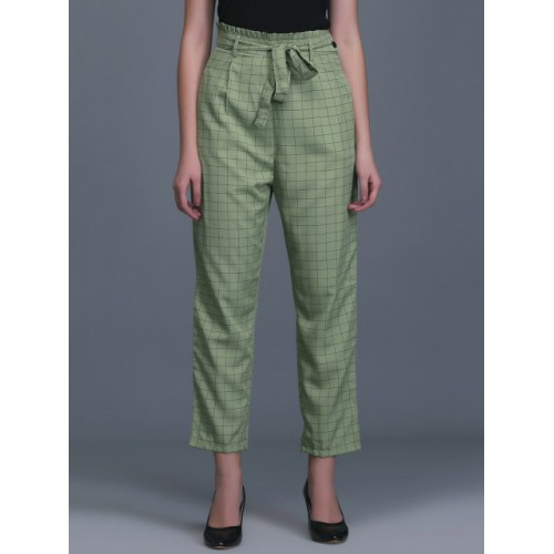 Eavan Green Polyester Straight Fit Checked Cigarette Trousers