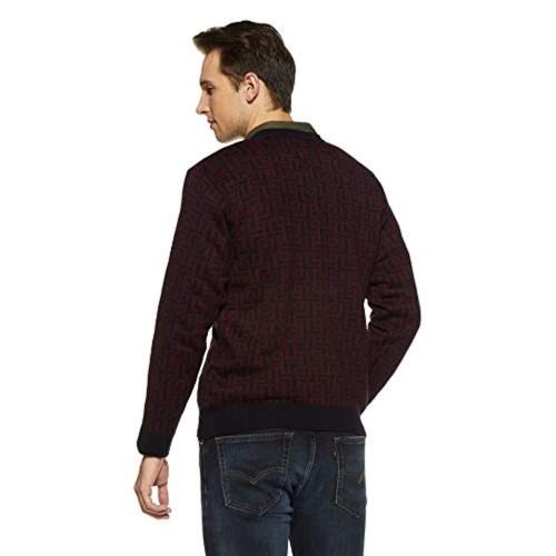 Duke Maroon Acrylic Full Sleeve V Neck Sweter