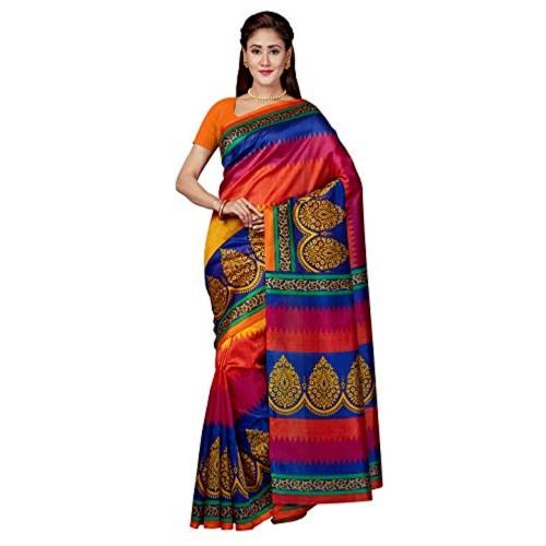 Sareeswarg Multi Color Silk Printed Saree with Blouse Piece