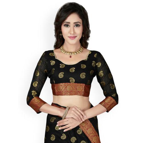 Saree Swarg Black Cotton Blend Woven Design Banarasi Saree