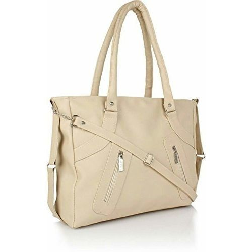 Crystal Kaatz Cream PU Leather Handbag With Adjustable Strap