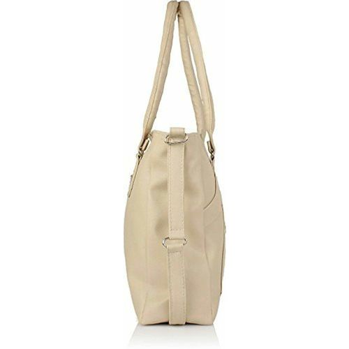 Crystal Kaatz Cream PU Leather Handbag With Adjustable Strap