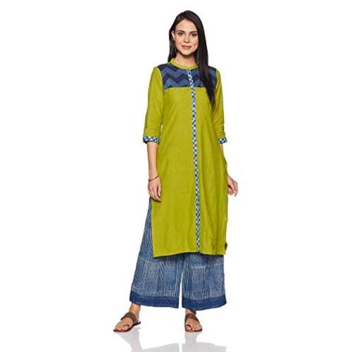 22a484f950053 Buy SRISHTI By fbb Green Cotton Regular fIt A-Line Kurta online ...