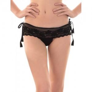 Senslife Black Satin Thong Panty