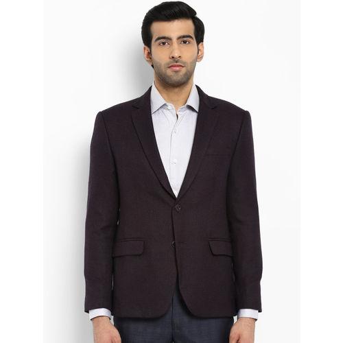 Park Avenue Men Burgundy Self-Design Slim Fit Single Breasted Casual Blazer