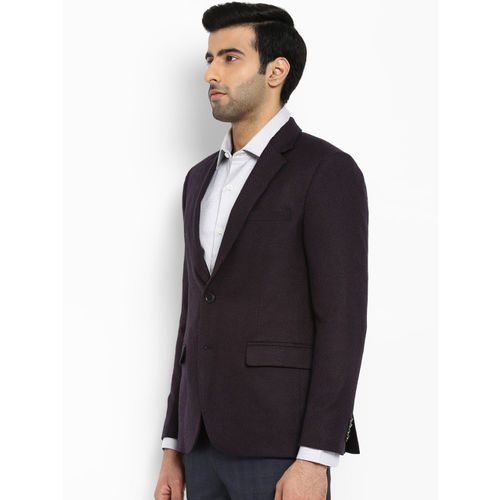 Park Avenue Men Burgundy Self-Design Slim Fit Single Breasted Casual Blazer