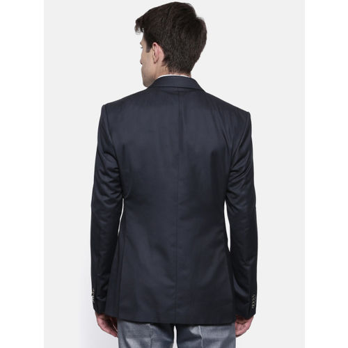 Park Avenue Navy Blue Solid Super Slim Fit Single Breasted Formal Blazer