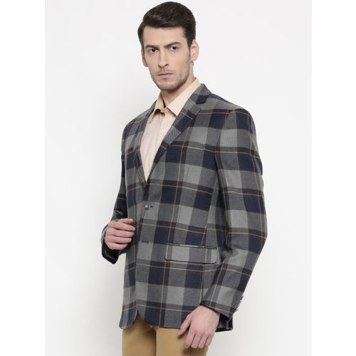 Park Avenue Navy & Grey Slim Fit Single-Breasted Casual Blazer