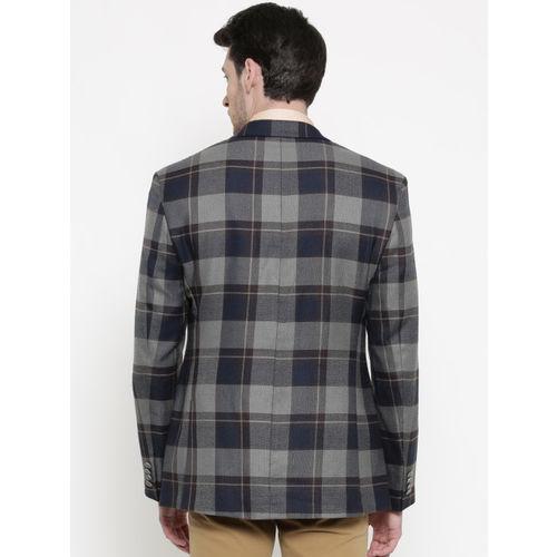 Park Avenue Navy & Grey Slim Fit Single-Breasted Casual Blazer