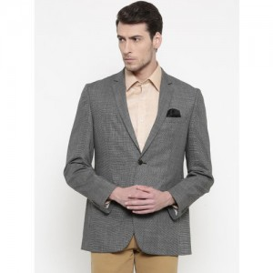 Park Avenue Men Black & Grey Woollen Slim Fit Checked Formal Blazer