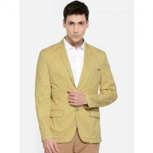 Park Avenue Beige Single-Breasted Slim Fit Casual Blazer