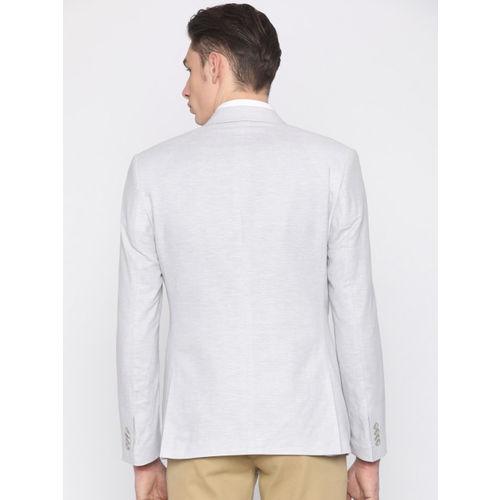 Park Avenue Grey Slim Fit Single-Breasted Formal Blazer
